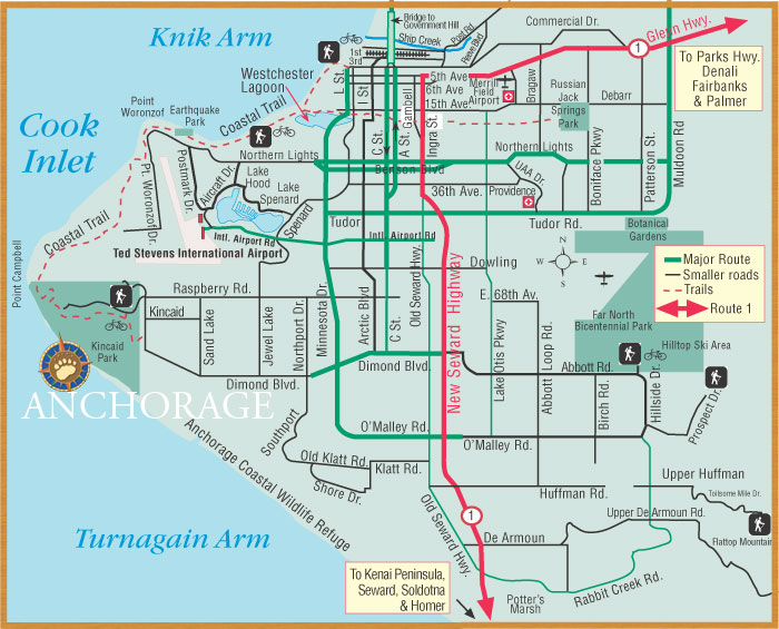 Map Of Anchorage Alaska Get an Alaska Map • Maps by BEARFOOT Guides • Maps of Anchorage
